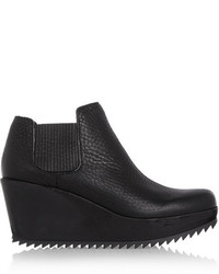 Pedro Garcia Fern Textured Leather And Suede Wedge Ankle Boots