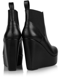 b659f2664909 ... Robert Clergerie Fille Leather Wedge Ankle Boots