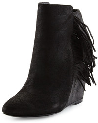 Charles David Irene Fringe Leather Wedge Bootie Black