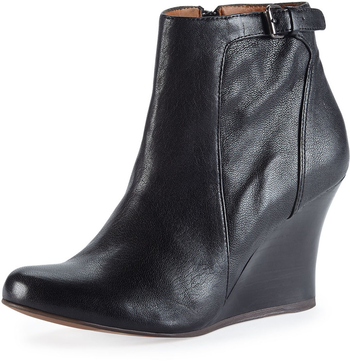 1cfff2398eee ... Lanvin Leather Wedge Ankle Boot Black ...