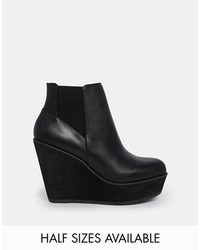 Shellys London Campalto Black Wedge Ankle Boots Black