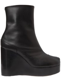 Maison Margiela 100mm Tabi Leather Wedge Ankle Boots