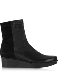 Robert Clergerie Noa Leather And Stretch Suede Wedge Ankle Boots
