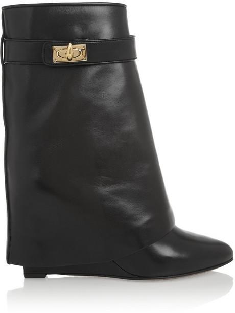 Givenchy Shark Lock Black Leather Wedge