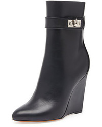 Givenchy Shark Lock Wedge Ankle Boot Black