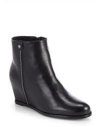 Stuart Weitzman Sidetrack Leather Wedge Ankle Boots
