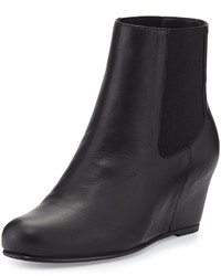 Stuart Weitzman Socks Leather Wedge Bootie Black