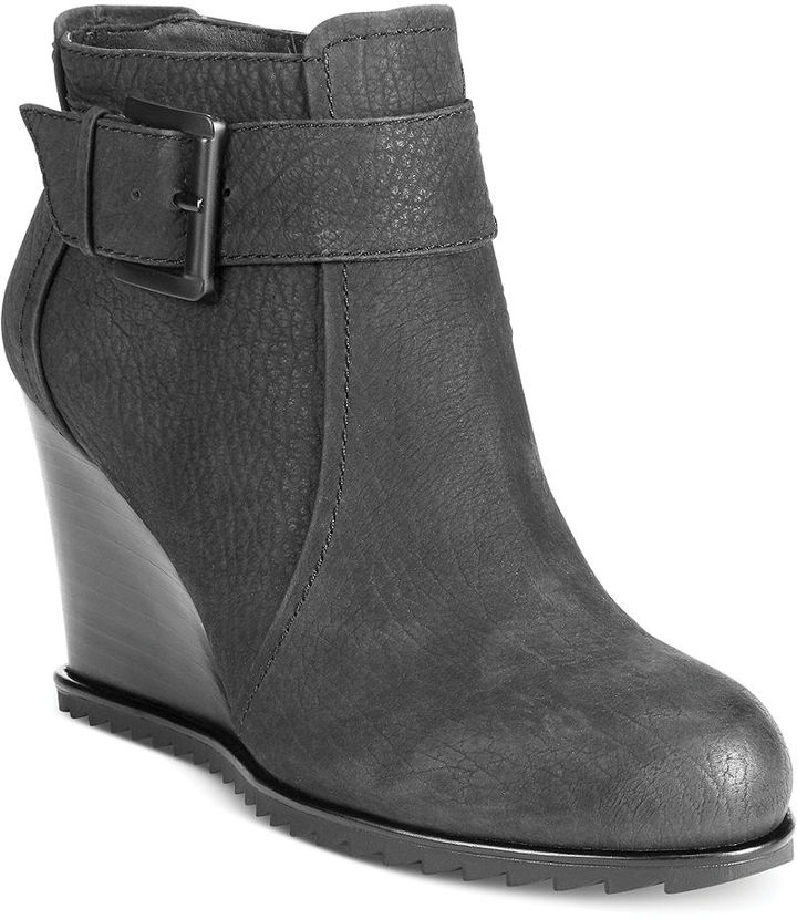 3d8dc0117ec ... Black Leather Wedge Ankle Boots Kenneth Cole Reaction Storm Fog Ankle Wedge  Booties ...