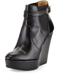 Dee Keller Tina Leather Buckled Wedge Bootie Black