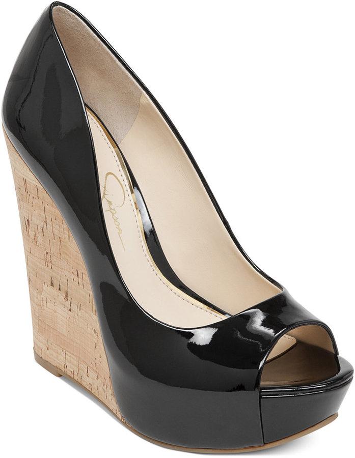 jessica simpson black wedge pumps