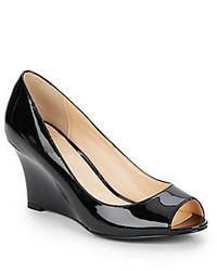 Cole Haan Kenzie Patent Leather Peep Toe Wedge Pumps