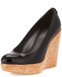 Stuart Weitzman Corkswoon Patent Wedge Pump Black