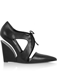 Balenciaga Cutout Leather Wedge Pumps