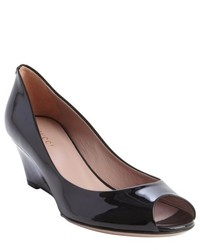 Gucci Black Leather Peep Toe Wedge Heel Pumps