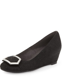 Stuart Weitzman Hexponen Demi Wedge Pump Black