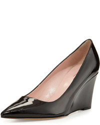 Kate Spade New York Jovia Pointy Toe Saffiano Patent Wedge Pump