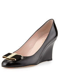 Kate Spade New York Malta Patent Bow Wedge Pump Black