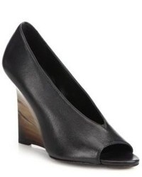 Burberry Peep Toe Leather Wedge Pumps