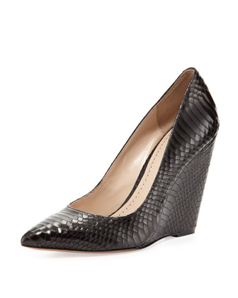 Pour La Victoire Lozanne Snake Embossed Wedge Pump Black