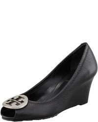 Tory Burch Sally 2 Leather Wedge Pump Blacksilver