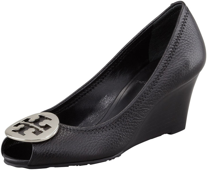 7e1f6722a ... Tory Burch Sally 2 Leather Wedge Pump Blacksilver ...