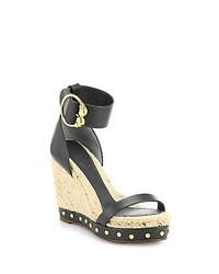 Alexander McQueen Leather Esapdrille Wedge Sandals Black