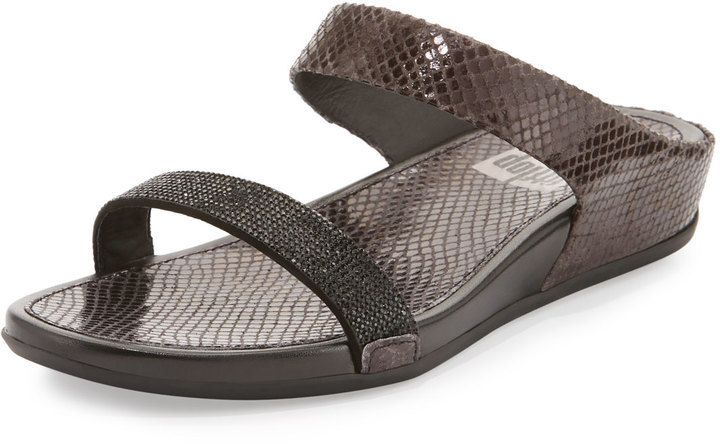 cd4e7922e ... Last Call by Neiman Marcus › FitFlop › Black Leather Wedge Sandals  FitFlop Banda Crystal Slide Sandal Black ...
