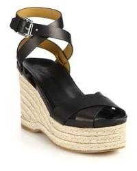 Ralph Lauren Collection Lois Espadrille Wedge Leather Sandals