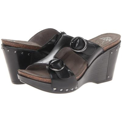 dansko fern wedge shoes black antique grain leather