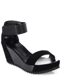 Pedro Garcia Fidelia Castoro Lame Leather Wedge Sandals