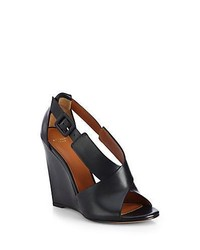Givenchy Leather Crisscross Wedge Sandals Black