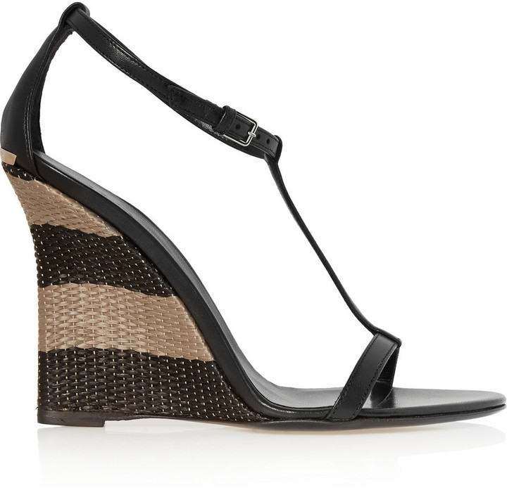 d3ab0611f8 Burberry Leather And Raffia Wedge Sandals Shoes Accessories, $650 ...