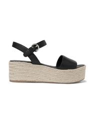 Prada Leather Espadrille Platform Sandals