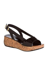 Miu Miu Miu Black Patent Leather Cork Wedge Sandals