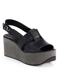 Jil Sander Navy Leather Platform Wedge Slingback Sandals