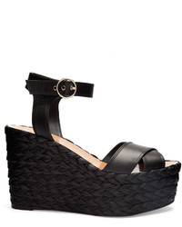 Valentino Nuevitas Cross Strap Leather Wedge Sandals
