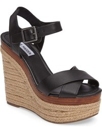 388804a3d5fe Women s Black Leather Wedge Sandals by Steve Madden