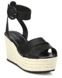 Alice + Olivia Roberta Leather Espadrille Wedge Sandals