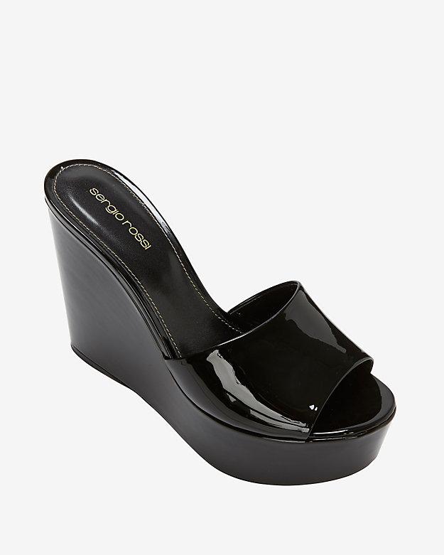 Sergio Rossi Lakeesha Patent Leather Wedge Slide Sandal