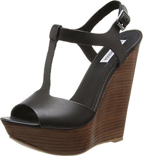 d0176087411 ... Black Leather Wedge Sandals Steve Madden Bittles Wedge Sandal