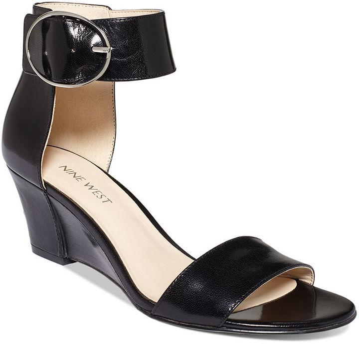 2707c5c062b235 ... Nine West Ventana Ankle Strap Demi Wedge Sandals ...