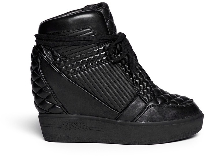 ... Ash Azimut Textured Leather High Top Wedge Sneakers ...