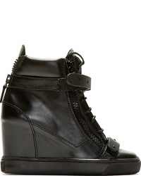 Giuseppe Zanotti Black Leather Wedge Lorenz High Top Sneakers