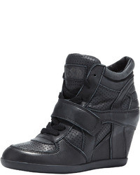 Ash Bowie Leather Wedge Sneaker Black