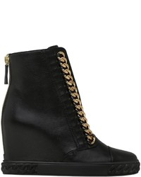 Casadei 80mm Chained Leather Wedge Sneakers