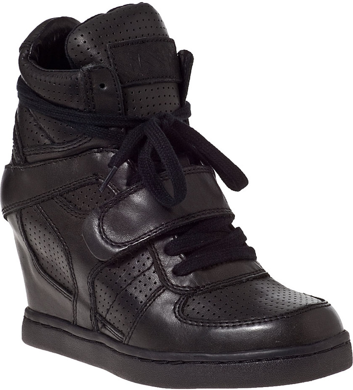 ... Ash Cool Wedge Sneaker Black Leather ...