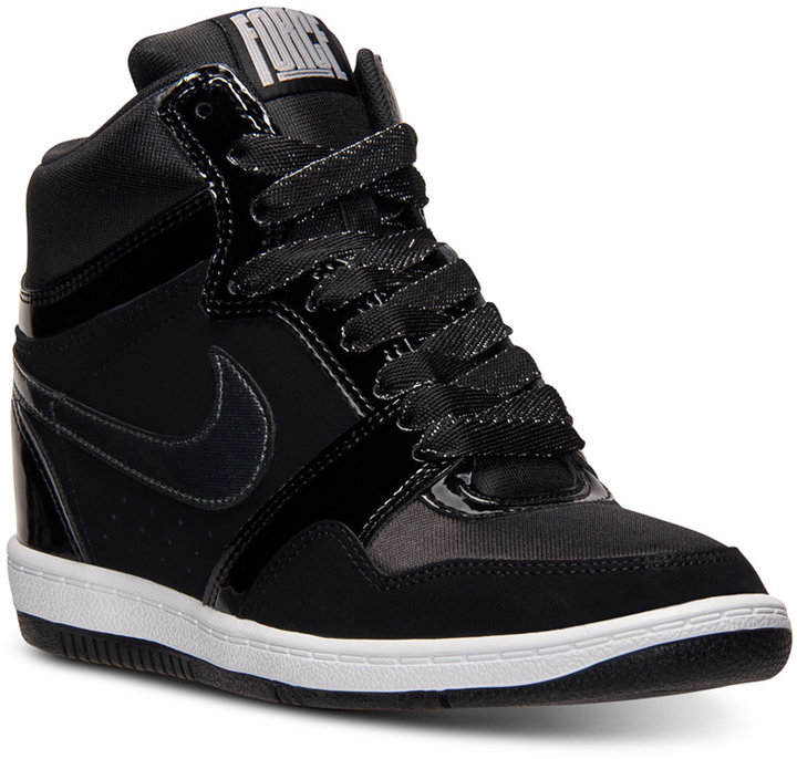 db680135b544d ... Black Leather Wedge Sneakers Nike Force Sky High Casual Sneakers From  Finish Line ...