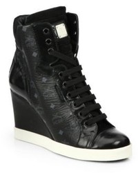 MCM Leather Logo Wedge Sneakers