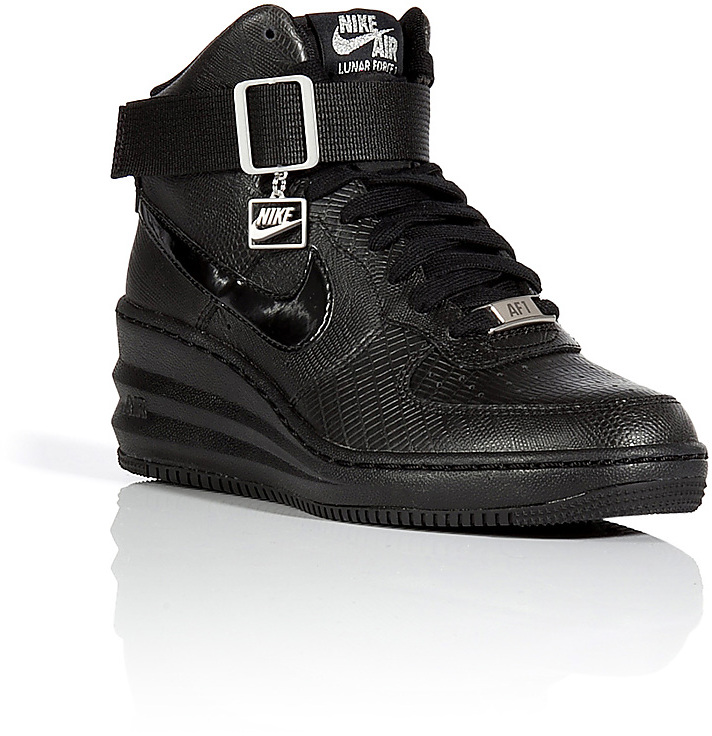 08a1c4c778e89 ... Black Leather Wedge Sneakers Nike Lunar Force Sky Hi Wedge Sneakers ...