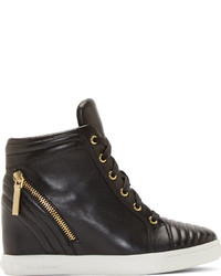 Balmain Pierre Black Leather Zipped Ribbed Wedge Sneaker